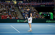 Andy Murray of Great Britain inspects a part of the court during the Davis Cup match by BNP Paribas between Great Britain and Japan at the National Indoor Arena, Birmingham.<br /> Picture by Russell Hart/Focus Images Ltd 07791 688 420<br /> 06/03/2016