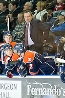 KELOWNA, CANADA, JANUARY 25: Guy Charron, head coach of the Kamloops Blazers, stands on the bench as the Kamloops Blazers visit the Kelowna Rockets on January 25, 2012 at Prospera Place in Kelowna, British Columbia, Canada (Photo by Marissa Baecker/Getty Images) *** Local Caption ***