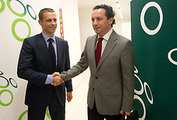 Aleksander Ceferin, president of NZS shaking hands with Slavisa Stojanovic, new   a new head coach of Slovenian National football Team during press conference of Football federation of Slovenia, on October 24, 2011, in Brdo pri Kranju, Slovenia.  (Photo by Vid Ponikvar / Sportida)
