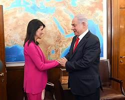 June 7, 2017 - Jerusalem, Israel - U.S. Permanent Representative to the UN, Ambassador Nikki Haley meets Israeli Prime Minister Benjamin Netanyahu at his office June 7, 2017 in Jerusalem, Israel. (Credit Image: © Matty Stern/Planet Pix via ZUMA Wire)