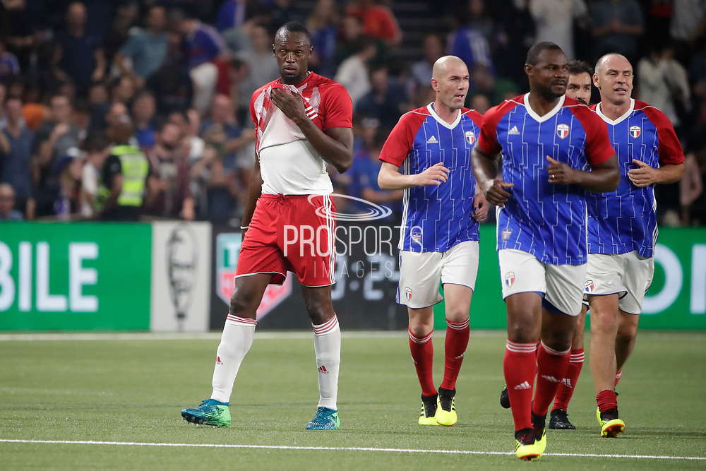 Usain Bolt (FIFA 98) reacted after the goal scored by Zinedine Zidane (France 98), Alain BOGHOSSIAN (France 98), Robert Pires (France 98) during the 2018 Friendly Game football match between France 98 and FIFA 98 on June 12, 2018 at U Arena in Nanterre near Paris, France - Photo Stephane Allaman / ProSportsImages / DPPI