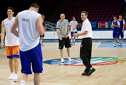 Jure Zdovc and Tomo Mahoric  at practice of Slovenian National Basketball team in Arena Torwar two days before the beginning of the Eurobasket 2009, on September 05, 2009 in Warsaw, Poland. (Photo by Vid Ponikvar / Sportida)