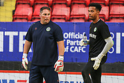 Forest Green Rovers goalkeeper coach Kevin Phillips with Forest Green Rovers goalkeeper Joe Wollacott(13) during the EFL Cup match between Charlton Athletic and Forest Green Rovers at The Valley, London, England on 13 August 2019.