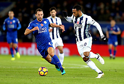 Matt Phillips of West Bromwich Albion takes on Daniel Drinkwater of Leicester City - Mandatory by-line: Robbie Stephenson/JMP - 06/11/2016 - FOOTBALL - King Power Stadium - Leicester, England - Leicester City v West Bromwich Albion - Premier League