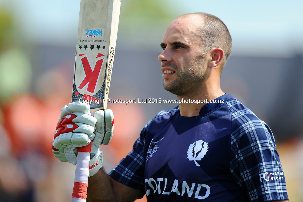 Scotland player Kyle Coetzer acknowledges his 156 runs which is also the highest by a Scotland player during the 2015 ICC Cricket World Cup match between Bangladesh v Scotland. Saxton Oval, Nelson, New Zealand. Thursday 5 March 2015. Copyright Photo: Chris Symes / www.photosport.co.nz