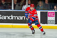 KELOWNA, BC - MARCH 13: Luke Toporowski #22 of the Spokane Chiefs warms up on the ice against the Kelowna Rockets at Prospera Place on March 13, 2019 in Kelowna, Canada. (Photo by Marissa Baecker/Getty Images)