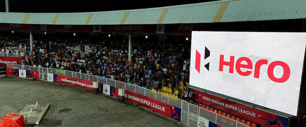 Gaint screen during match 33 of the Indian Super League (ISL) season 2  between FC Pune City and FC Goa held at the Shree Shiv Chhatrapati Sports Complex Stadium, Pune, India on the 8th November 2015.<br /> <br /> Photo by Sandeep Shetty / ISL/ SPORTZPICS