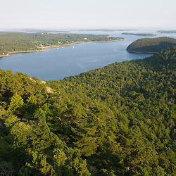 Flying Mountain and the entrance to Somes Sound as seen from Acadia Mountain in Maine's Acadia National Park.  The only fjord in the eastern United States.