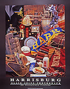 "Poster of memorabilia reminiscent of the city of Harrisburg in years gone by. Black border with the words ""Harrisburg"" and ""Blair Seitz Photograph"" at the bottom."