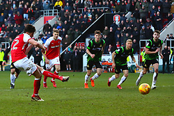 Joe Newell of Rotherham United scores a penalty to give Rotherham United the winner 13 minutes in injury time - Mandatory by-line: Ryan Crockett/JMP - 24/02/2018 - FOOTBALL - Aesseal New York Stadium - Rotherham, England - Rotherham United v Doncaster Rovers - Sky Bet League One
