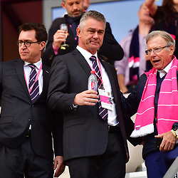 (L-R) Stade Francais Paris general director Fabien Grobon, New Stade Francais Paris coach for next season Heyneke Meyer and Stade Francais Paris owner Hans Peter Wild during the French Top 14 match between Stade Francais and Brive at Stade Jean Bouin on April 28, 2018 in Paris, France. (Photo by Dave Winter/Icon Sport)