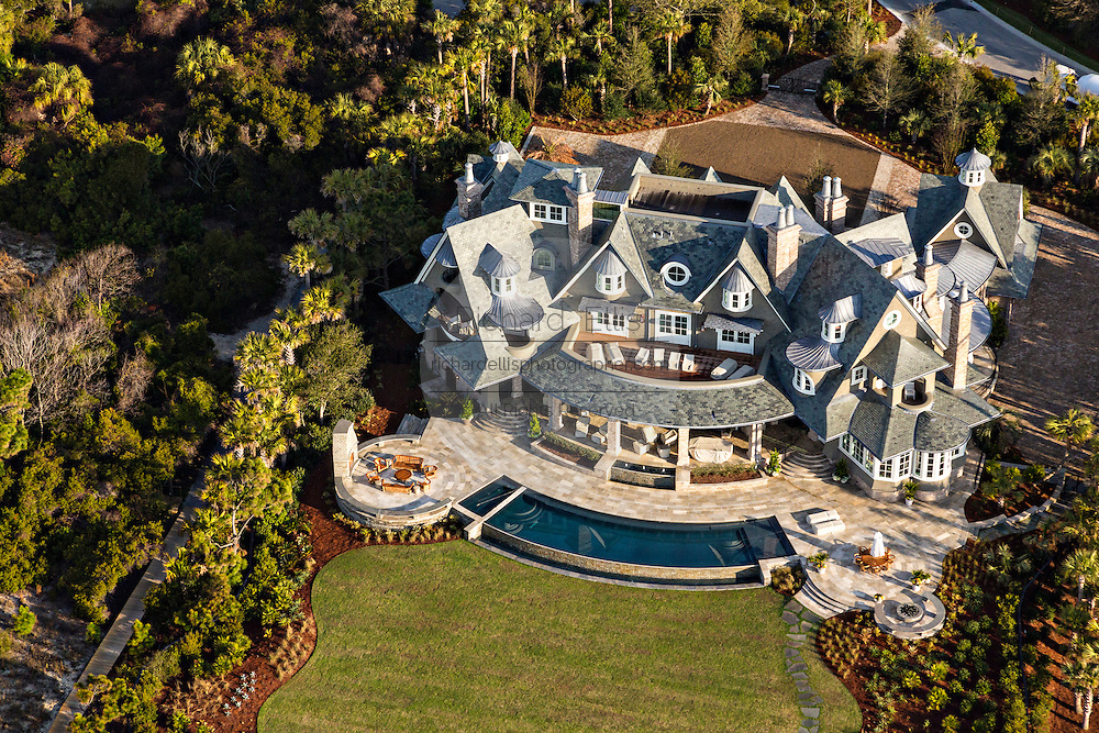 Aerial view of a luxury home in Kiawah Island, SC.