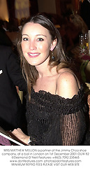 MRS MATTHEW MELLON a partner of the Jimmy Choo shoe company, at a ball in London on 1st December 2001.OUW 82