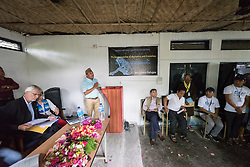 14 September 2018, Damak, Nepal: Rev. Camp secretary Tikaram Rasaily, himself a refugee, speaks as Lutheran World Federation general secretary Rev. Dr Martin Junge visits the Beldangi refugee camp in the Jhapa district of Nepal, which hosts more than 5,000 Bhutanese refugees. For the past two years, the refugees themselves oversee monitoring, maintenance and governance of the camp.