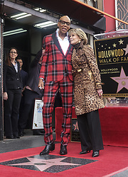 March 16, 2018 - Los Angeles, California, U.S - RuPaul and Jane Fonda pose with his star on the Hollywood Walk of Fame following a ceremony on Friday, March 16, 2018, in Los Angeles. (Credit Image: © Ringo Chiu via ZUMA Wire)