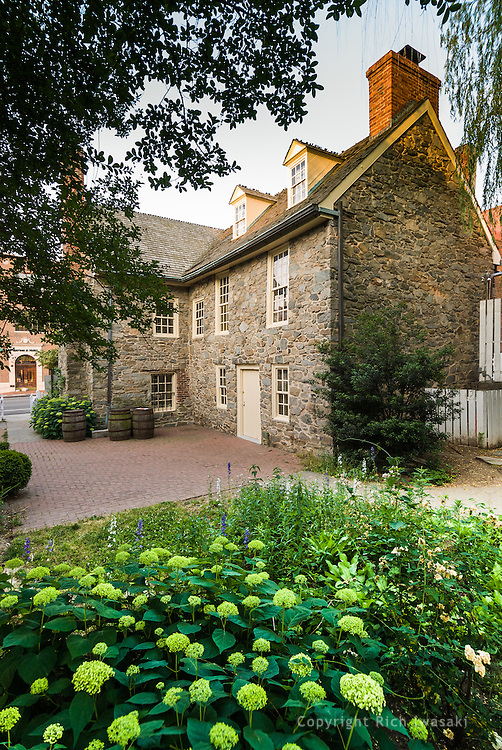 Exterior view of Old Stone House, Georgetown district, Washington, DC. Dating from 1766, the house is the only surviving building in the capital before the Revolution.