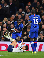 Football - 2019 / 2020 Premier League - Tottenham Hotspur vs. Chelsea<br /> <br /> Tottenham Hotspur's Son Heung-Min battles with Chelsea's Antonio Rudiger leading to his red card, at The Tottenham Hotspur Stadium.<br /> <br /> COLORSPORT/ASHLEY WESTERN