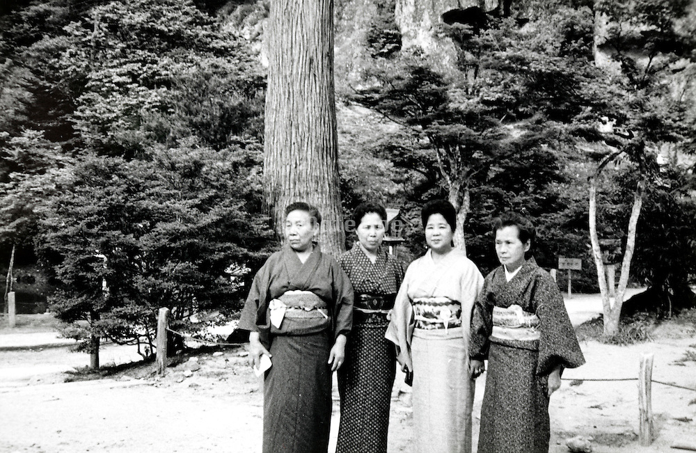 sightseeing group posing Japan early 1960s