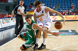 Jaka Lakovic of Slovenia vs Sergio Llull of Spain during the fifth-place basketball match between National teams of Slovenia and Spain at 2010 FIBA World Championships on September 10, 2010 at the Sinan Erdem Dome in Istanbul, Turkey.   (Photo By Vid Ponikvar / Sportida.com)