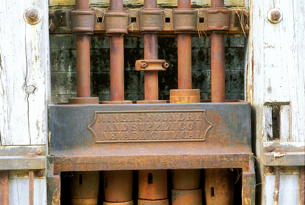 A five-stamp mill from the Miners Foundry (Nevada City) at the North Star Mine Powerhouse, Grass Valley, Gold Country (Highway 49), California