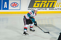 KELOWNA, CANADA - JANUARY 4: Nolan Foote #29 of the Kelowna Rockets skates with the puck against the Prince George Cougars  on January 4, 2019 at Prospera Place in Kelowna, British Columbia, Canada.  (Photo by Marissa Baecker/Shoot the Breeze)