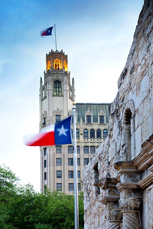 Alamo Plaza.Texas Flag