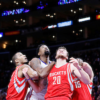 11 February 2015: Los Angeles Clippers center DeAndre Jordan (6) vies for the rebound with Houston Rockets forward Trevor Ariza (1), Houston Rockets forward Donatas Motiejunas (20) and Houston Rockets forward Kostas Papanikolaou (16) during the Los Angeles Clippers 110-95 victory over the Houston Rockets, at the Staples Center, Los Angeles, California, USA.