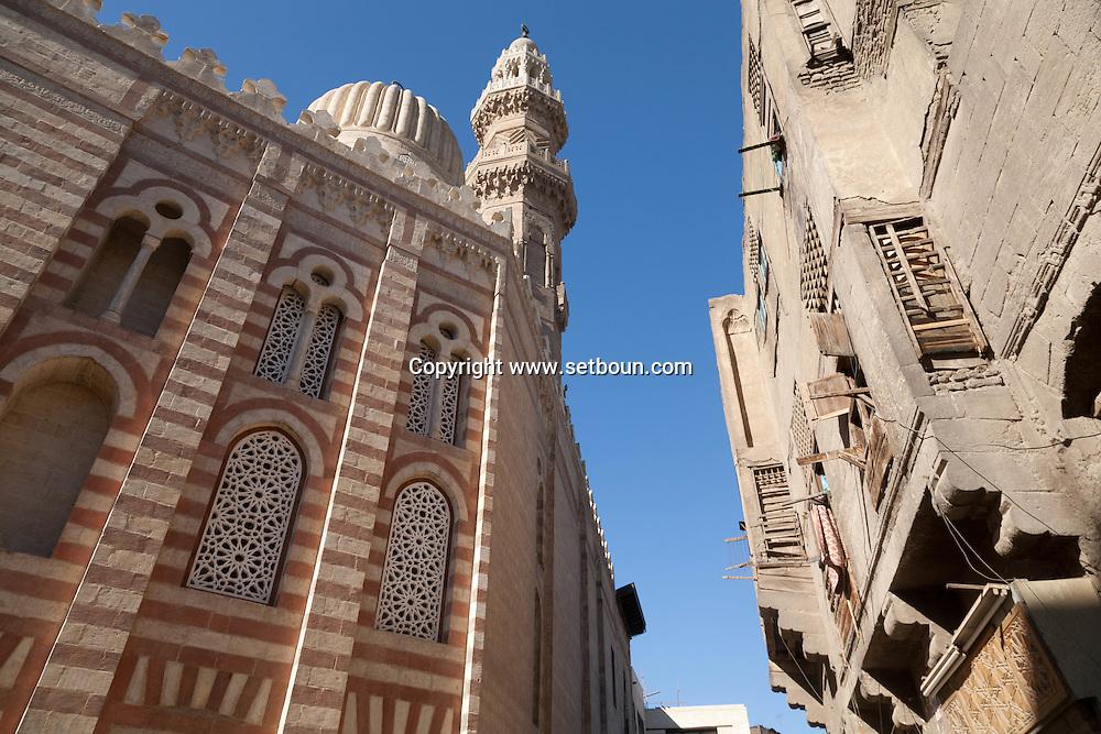 Egypt. Cairo -Madrassa UM AL sultan Shaban - Cha'Ban - before and after renovation   in Darb al Ahmar  street, islamic Cairo     NM125 +