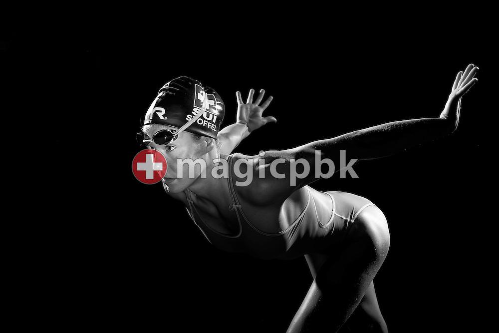 Swimmer Svenja STOFFEL of Switzerland is pictured during a portrait photo session in a mobile studio at the Centro sportivo nazionale della gioventu in Tenero, Switzerland, Sunday, Aug. 10, 2014. (Photo by Patrick B. Kraemer / MAGICPBK)
