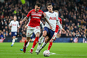 Tottenham Hotspur midfielder Erik Lamela (11) tussles with Middlesbrough midfielder Marvin Johnson (21) during the The FA Cup third round replay match between Tottenham Hotspur and Middlesbrough at Tottenham Hotspur Stadium, London, United Kingdom on 14 January 2020.