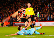 AFC Bournemouth midfielder Harry Arter watches his strike go in th back of the net for a goal during the Barclays Premier League match between Bournemouth and West Ham United at the Goldsands Stadium, Bournemouth, England on 12 January 2016. Photo by Graham Hunt.