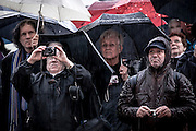VATICAN CITY, VATICAN - MARCH 12, 2013 - Conclave 2013. Hundreds of faithful in St Peter's Square waiting in the rain for the outcome of the voting ion the first day of conclave. Photo Giovanni Marino/Inside......