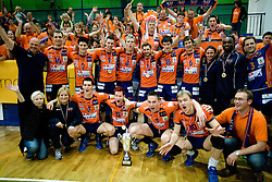 Players of ACH celebrate at final ceremony at final match of Slovenian National Volleyball Championships between ACH Volley Bled and Salonit Anhovo, on April 24, 2010, in Radovljica, Slovenia. ACH Volley defeated Salonit 3rd time in 3 Rounds and became Slovenian National Champion.  (Photo by Vid Ponikvar / Sportida)