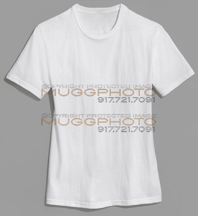 hanes plain white t-shirt on grey background