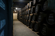 Caskets in port wine cellars at Graham's Port Lodge in V|la Nova de Gaia in Porto, Portugal