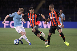 October 23, 2018 - Kharkiv, Ukraine - Forward Junior Moraes (C) and midfielder Fernando (R) of FC Shakhtar Donetsk are pictured during the UEFA Champions League Group F Matchday 3 game against Manchester City FC at the Metalist Stadium Regional Sports Complex, Kharkiv, northeastern Ukraine, October 23, 2018. Ukrinform. (Credit Image: © Vyacheslav Madiyevskyy/Ukrinform via ZUMA Wire)