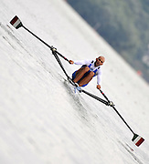 Ottensheim, AUSTRIA.   ITA LM1X, Lorenzo BERTINI, moves away from the start in their morning heat, at the 2008 FISA Senior and Junior Rowing Championships,  Linz/Ottensheim. Tuesday,  22/07/2008.  [Mandatory Credit: Peter SPURRIER, Intersport Images] Rowing Course: Linz/ Ottensheim, Austria