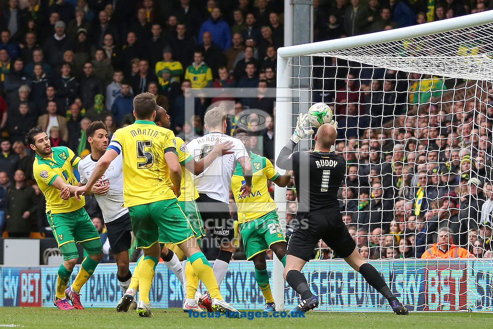 John Ruddy of Norwich City flaps at a corner and diverts the ball into his own net to score an own goal, making it 1-1 during the Sky Bet Championship match at Carrow Road, Norwich<br /> Picture by Richard Calver/Focus Images Ltd +44 7792 981244<br /> 14/03/2015