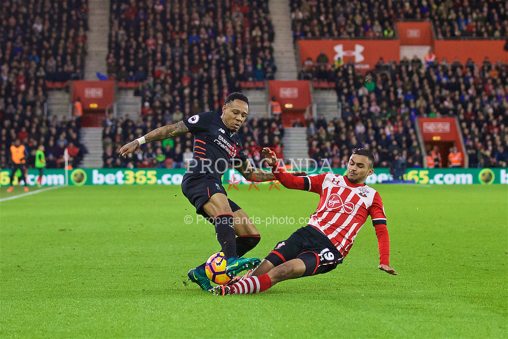 SOUTHAMPTON, ENGLAND - Saturday, November 19, 2016: Liverpool's Nathaniel Clyne is tackled by Southampton's Sofiane Boufal during the FA Premier League match at St. Mary's Stadium. (Pic by David Rawcliffe/Propaganda)