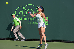 March 20, 2018 - Key Biscayne, FL, U.S. - Key Biscayne, FL - MARCH 20: Nicole Gibbs (USA) competes during the qualifying round of the 2018 Miami Open on March 20, 2018, at Tennis Center at Crandon Park in Key Biscayne, FL. (Photo by Aaron Gilbert/Icon Sportswire) (Credit Image: © Aaron Gilbert/Icon SMI via ZUMA Press)