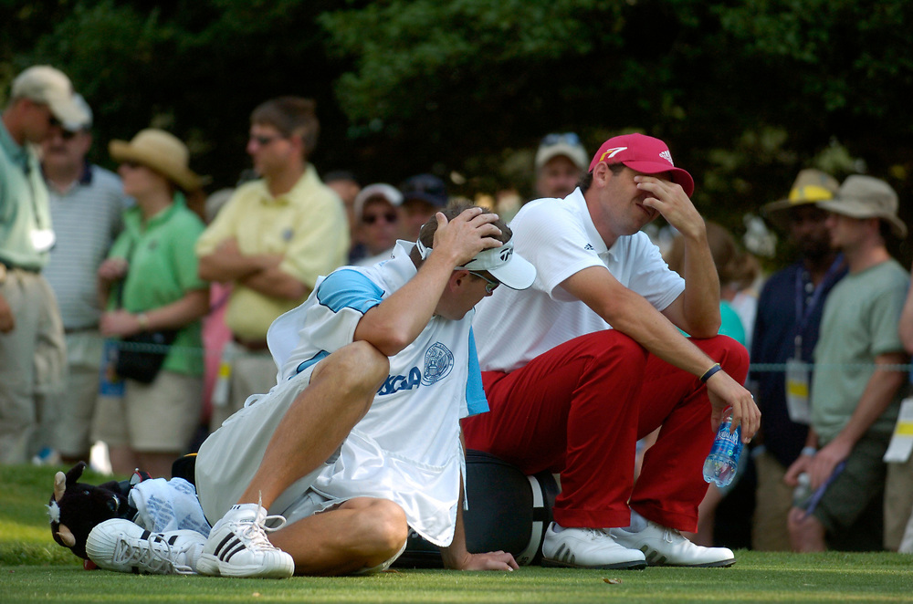 PINEHURST, NORTH CAROLINA - JUNE 16, 2005<br /> Sergio GARCIA and his caddie Glen MURRAY  during the 1st Round of the 2005 U.S. Open Championship, held at Pinehurst No.2 in the Village of Pinehurst, North Carolina.