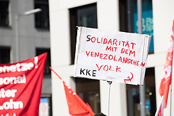 May 1, 2019 - Munich, Bavaria, Germany - A sign in solidarity with Venezuela. On 1.5.2019 a few thousands people demonstrated at the MayDay protest in Munich. (Credit Image: © Alexander Pohl/NurPhoto via ZUMA Press)