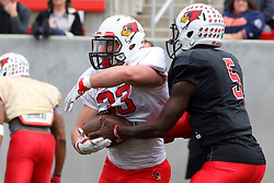 21 April 2018:   Broadnax hands off to Kielbasa  Illinois State Redbirds Spring Scrimmage Football game at Hancock Stadium in Normal IL (Photo by Alan Look)