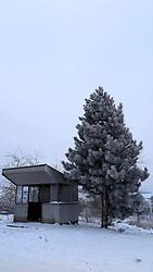 CZECH REPUBLIC VYSOCINA NEDVEZI 31DEC14 - Snowy bus stop in the village of Nedvezi, Vysocina, Czech Republic.<br /> <br /> jre/Photo by Jiri Rezac<br /> <br /> © Jiri Rezac 2015