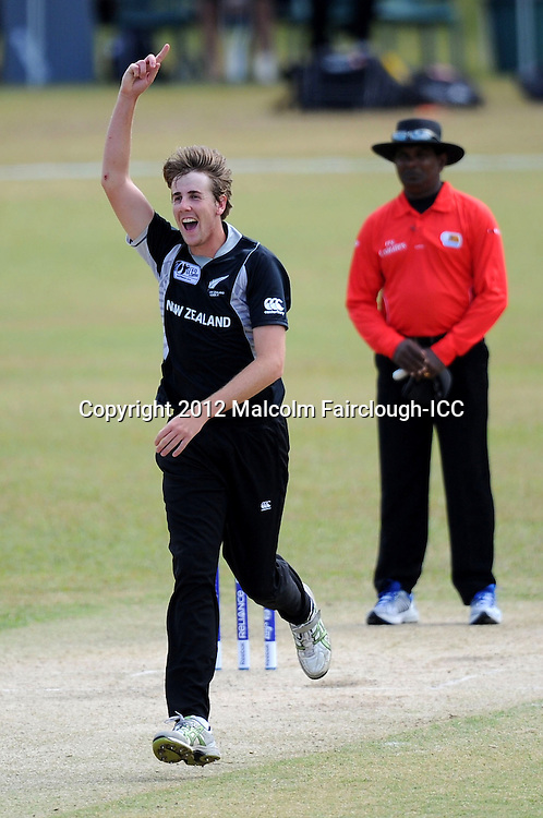 TOWNSVILLE, AUSTRALIA - AUGUST 20:  Matt Quinn of New Zealand celebrates the wicket of John Campbell during the ICC U19 Cricket World Cup 2012 Quarter Final match between New Zealand and the West Indies at Endeavour Park on August 20, 2012 in Townsville, Australia.  (Photo by Malcolm Fairclough-ICC/Getty Images)