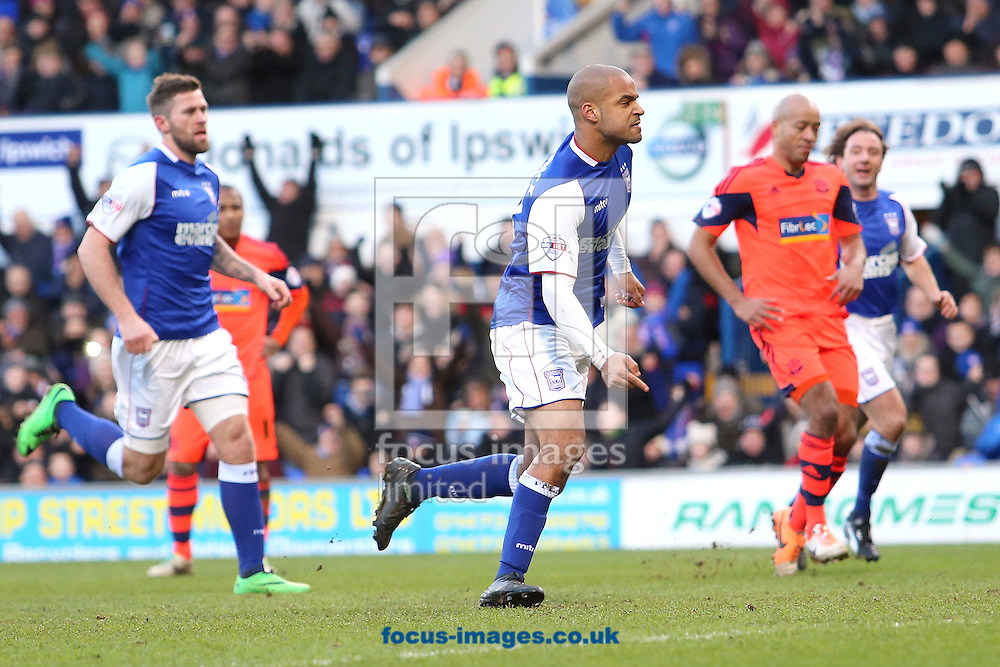 Picture by Richard Calver/Focus Images Ltd +447792 981244<br /> 01/02/2014<br /> David McGoldrick of Ipswich Town celebrates after scoring the winning goal during the Sky Bet Championship match against Bolton Wanderers at Portman Road, Ipswich.