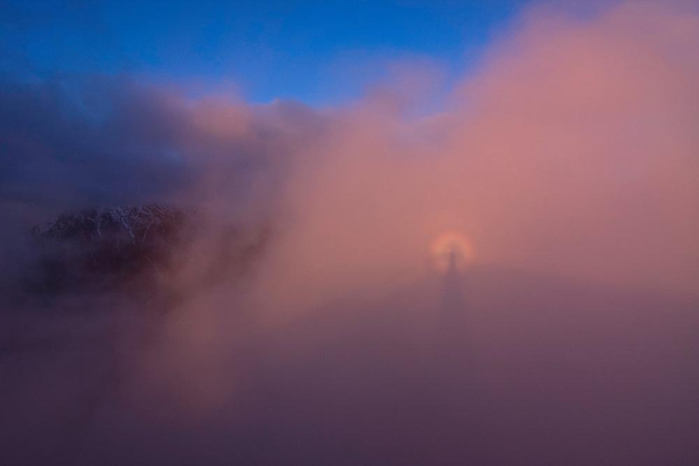 Glory with Brocken spectre phaenomenon and mountain at sunset. High Tatras, Slovakia. June 2009. Mission: Ticha