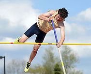 WARMINSTER, PA - MAY 1: Council Rock South's Ryan Byrne competes in the pole vault during the Montgomery Memorial Track and Field Meet May 1, 2014 at William Tennent High School in Warminster, Pennsylvania. (Photo by William Thomas Cain/Cain Images)