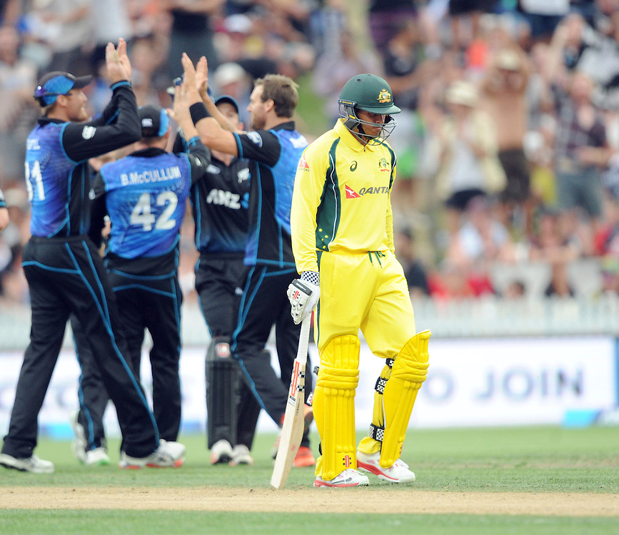 Australia's Usman Khawaja walks, out for 44 to New Zealand's Doug Bracewell in the 3nd One Day International Cricket match at Seddon Park, Hamilton, New Zealand, Monday, February 08, 2016. Credit:SNPA / Ross Setford