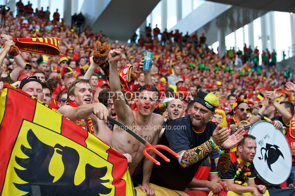 BORDEAUX, FRANCE - Saturday, June 18, 2016: Belgium's  supporters celebrate victory after the UEFA Euro 2016 Championship Group E match against the Republic of Ireland at Stade de Bordeaux. (Pic by Paul Greenwood/Propaganda)